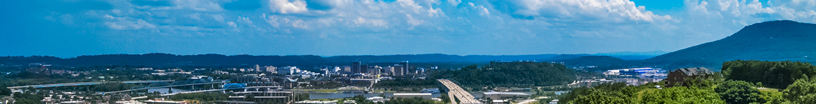 aerial photo of Lookout Mtn and downtown Chattanooga, TN