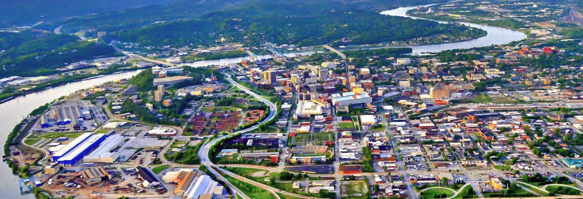 Dan Reynolds aerial photo of downtown Chattanooga, TN