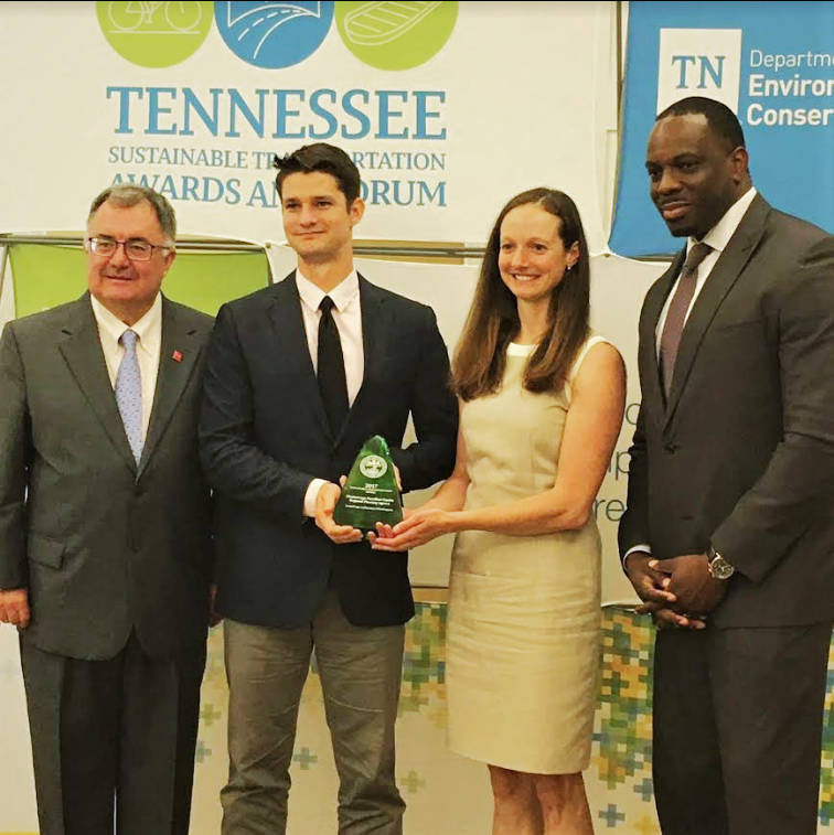 Green Trips and RPA employees being awarded the Tennessee Sustainable Transportation Award (2017)-GreenTrips